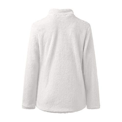 Hauts Sweat Manches Longues Blanc Chemisier Chaud Chaud Femme Zipper Hiver Pull Bringbring qZBOY4