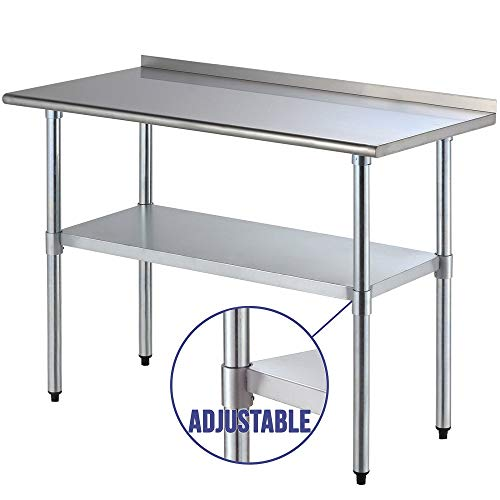 Backsplash Open Base Work Table - Chef Food Prep Work Table with Backsplash Heavy Duty Stainless Steel 24