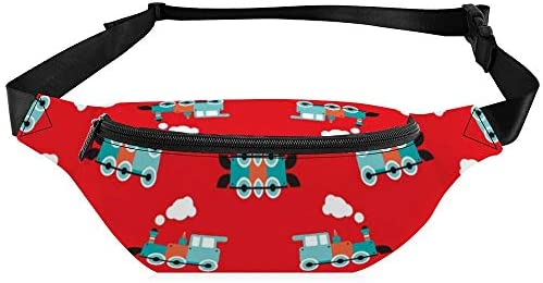 かわいい赤いレトロなおもちゃ鉄道イラストパターン ウエストバッグ ショルダーバッグチェストバッグ ヒップバッグ 多機能 防水 軽量 スポーツアウトドアクロスボディバッグユニセックスピクニック小旅行