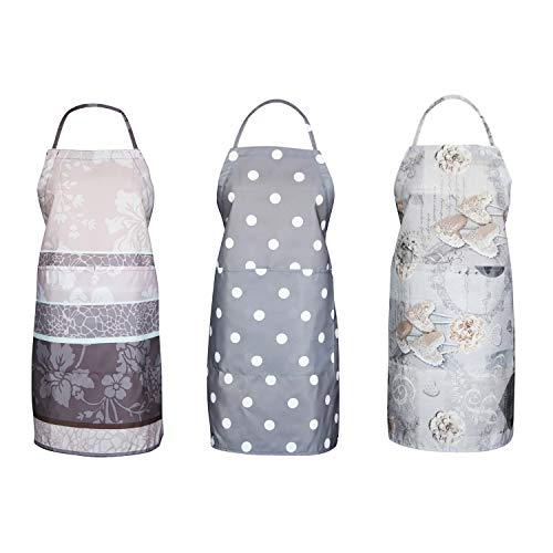 FBTS Prime Cute Apron Kitchen Sets 3 Pack for Women and Men Water Resistant Adjustable Buckles with Two Big Front Pockets (Grey)