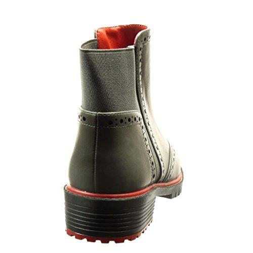Angkorly Mujer 3 Botines Talón Boots Moda Ancho Zapatillas Cm Gris Tacón Perforado 5 Chelsea Derby De Zapato FrqHnO8F