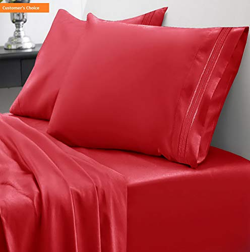 Mikash 1800 Thread Count Sheet Set - Soft Egyptian Quality Brushed Microfiber Hypoallergenic Sheets - Luxury Bedding Set with Flat Sheet, Fitted Sheet, 2 Pillow Cases, Queen, Red | Style 84597041 ()