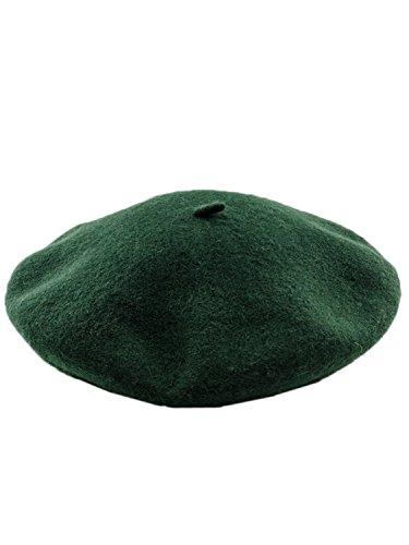 Paris Artist Beret Hat Solid Dark Green ()