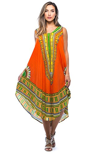 Riviera Sun 21755-ORG-FS Dashiki Dress Dresses for Women Orange ()