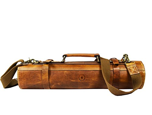 Leather Roll Knife Storage Bag | Elastic and Expandable 10 Pockets | Adjustable/Detachable Shoulder Strap | Travel-Friendly Chef Knife Case Roll By Aaron Leather (Caramel Brown)
