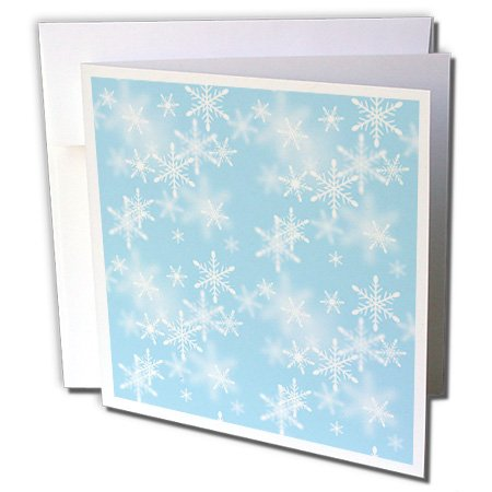 Anne Marie Baugh Snow Flakes - Floating White Snowflakes Against A Light Blue Background - 6 Greeting Cards with envelopes (gc_65567_1)