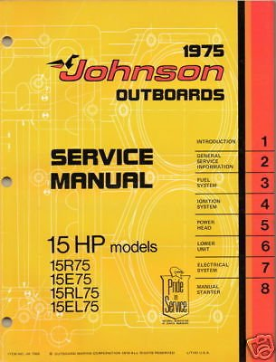 15 Hp Outboard Service Manual (1975 JOHNSON OUTBOARD 15 HP SERVICE MANUAL NEW)
