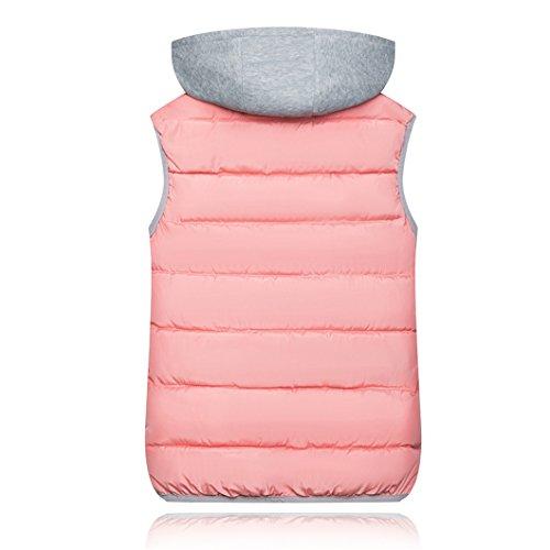 Zip Outwear Collo Solido Cappuccio Gilet Giacca Haokty Trapunta Rosa Cotone Gilet Con Donne Giù Imbottito Di Alto TgncxZ0x