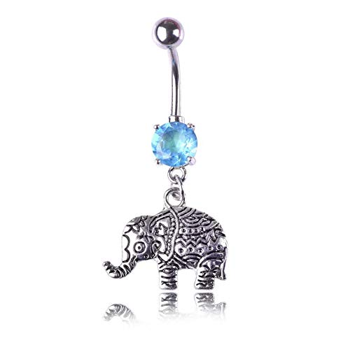 - KunBead Elephant Stainless Steel Butterfly Blue Crystal Navel Ring Belly Body Piercing Jewelry