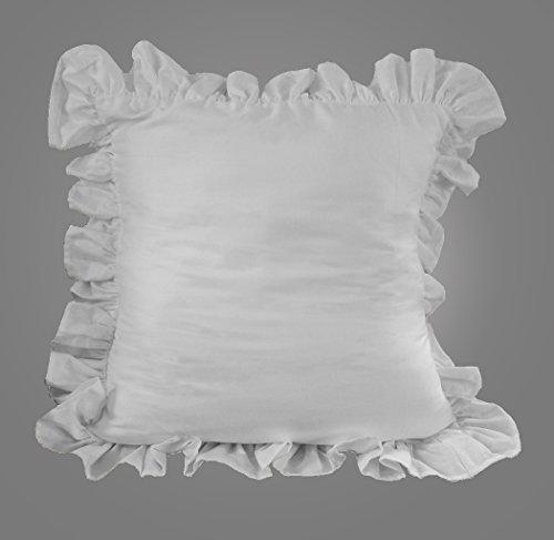 Ruffle Edge Cotton White Throw Pillow case cover 1 pc 18 X 18 Inch (White Ruffle Throw Pillow)