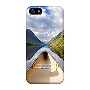 First-class Cases Covers For Iphone 5/5s Dual Protection Covers Perspective Canoe In The River