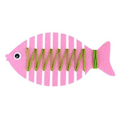 NUOBESTY Fish Lacing Thread Toy Kids Non-Woven Fabric Winding Toy for Kindergarten DIY Activity Game, 7 Pieces: Toys & Games