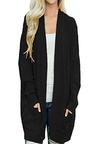 HUUSA Sexy Womens Open Front Knit Texture Long Cardigan Sweater Coat L Black