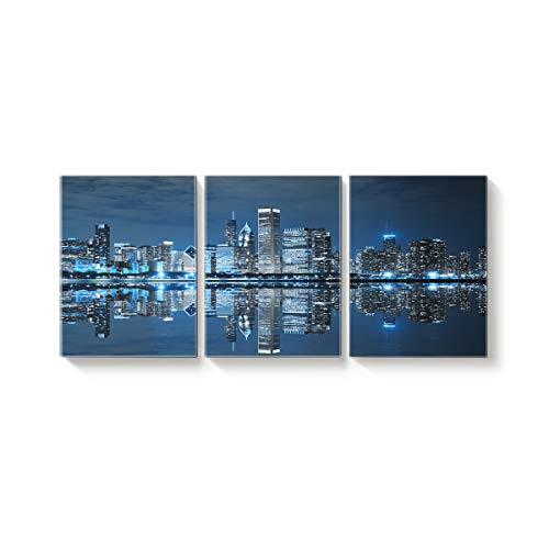 3 Panel Modern Canvas Wall Art Home Decor Chicago City Night View Reflection in The Water Oil Painting Giclee Artwork for Wall Decor 16x24inx3