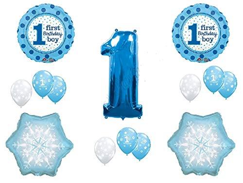 (More buying choices for WINTER WONDERLAND 1derland BIRTHDAY party BALLOON set 14pieces BOY blue SNOWFLAKE one-derland)