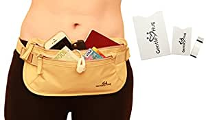 Money Belt - Hidden Travel Pouch with 100% RFID Blocking Hidden Waist Stash Security Money Belt with Special Gifts: 1xPassport & 1xCredit Card RFID Sleeves & Money Clip - Enhance Your Security Now!