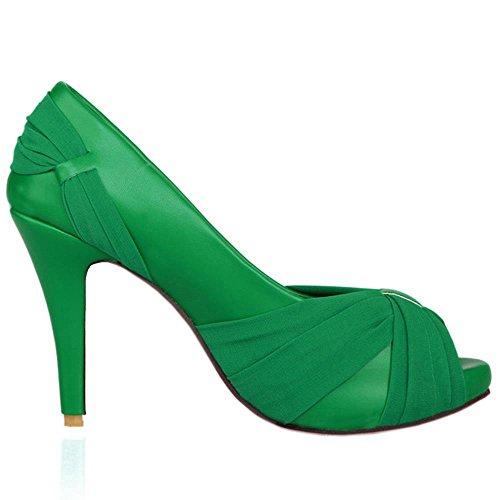 de RAZAMAZA Hauts Mariage Talons pour Chaussures Fête Chaussure Femmes Green Mode Escarpins Lace Satin qrqZ81x