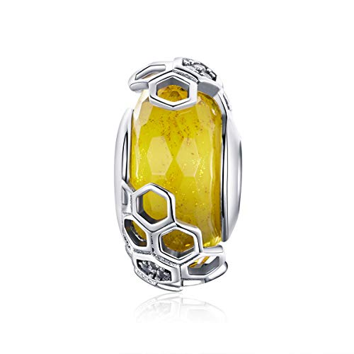 Murano Glass Beads Authentic 925 Sterling Silver Charms Core Faceted Christmas Snowflake Flower Star Glass Charms Bracelet for Women (Yellow Honey Bead)