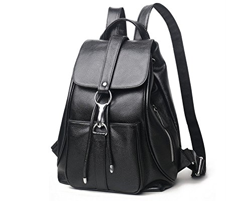 Women Black Vintage Real Genuine Leather Backpack Purse Travel Bag Schoolbag,Travel Shoulder Bag By CLAIRE CC by CLAIRE CC (Image #8)