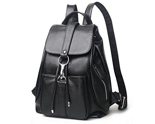 Women Black Vintage Real Genuine Leather Backpack Purse Travel Bag Schoolbag,Travel Shoulder Bag By CLAIRE CC