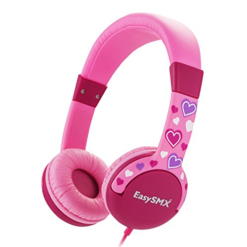Kids Headphones for Boys and Girls, EasySMX 3.5mm Comfortable Over-Ear Headsets with 85dB Volume Limited, Lovely and Safe Gifts for Children Age of 3-12 (Pink)