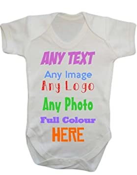 01c10dd28f5 Image Unavailable. Image not available for. Colour  ANY NAME TEXT IMAGE  PICTURE LOGO Personalised Custom Baby Grow Vest bodysuit onesie