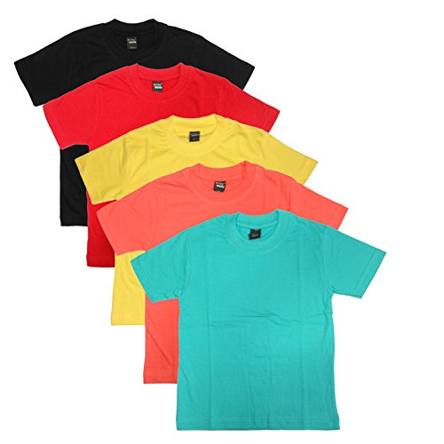 New Day Boys Cotton Plain T-Shirt Multicoloured (Pack of five)