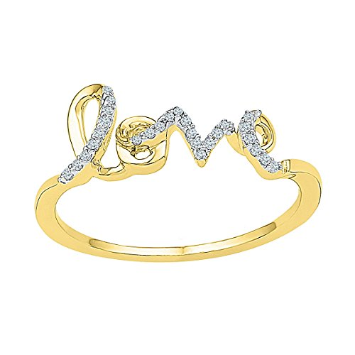 10kt Yellow Gold Womens Round Diamond Love Band Ring 1/12 Cttw by JawaFashion
