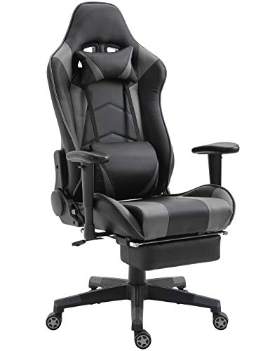Gaming Chair Ergonomic Computer Gaming Chairs Video Game Chair PC Racing Computer Chair for Gamer with Footrest and Lumbar Support (Black/Grey with footrest,68)