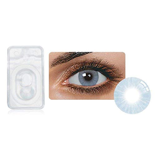 Multi-Color Attractive Fashion Cosplay Party Eyes Lenses A Pair with Case-(US Stock) - Azul ()