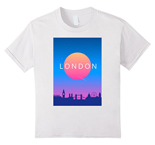 unisex-child London Modern Travel Poster T-Shirt 8 White