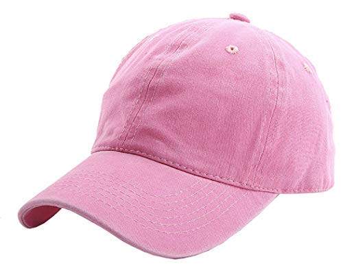Kids Baseball-Hat Washed Solid - Sun Hat for Children (2-7yrs, Pink) (Girls Caps And Hats)