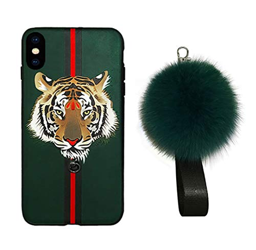 iPhone Case, Fashion INS Green Tiger Pattern Silicone Soft Cover Case with Hair Ball Lanyard for Apple iPhone Xs Max