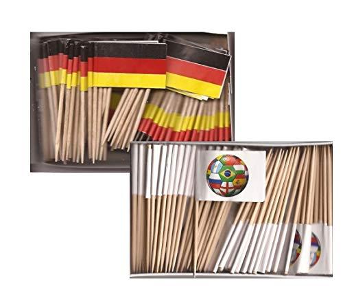 Mini Germany and Soccer Ball Toothpick Flags, 1 Box of 100 German and 1 Box of 100 Soccer Ball Toothpicks; 200 Small Mini Flag Cupcake Toothpicks or Tiny Cocktail Sticks & Picks (Germany Mini Soccer Ball)