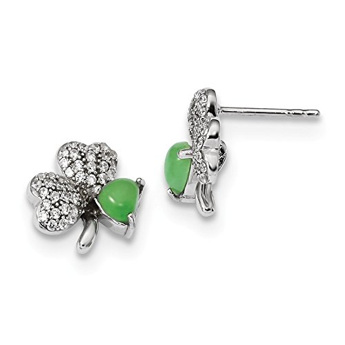 925 Sterling Silver Cubic Zirconia Cz Green Jade Clover Post Stud Earrings Outdoor Nature Fine Jewelry Gifts For Women For Her