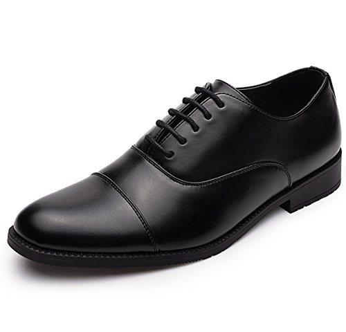 Black Leather Casual Oxfords - GM GOLAIMAN Men's Leather Oxford Dress Shoes Formal Cap Toe Lace up Modern Shoes Black 10.5