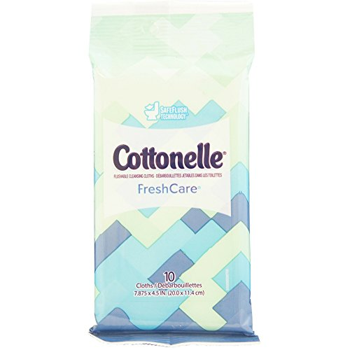 Cottonelle Fresh Care Flushable Moist Wipes Travel Pack, 10 Count (Pack of 24) - Kleenex Cottonelle Wipes