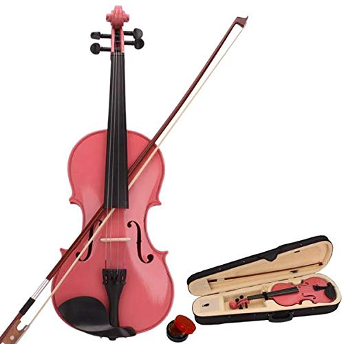 1/2 Basswood Acoustic Violin with Hard Case, Bow, Rosin Premium Strings for Kids Students Beginners Violin Rental Shop Preference Outfit Pink