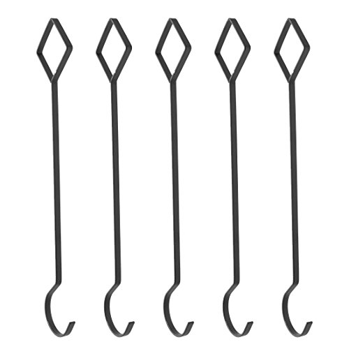 uxcell Metal Home Travel Clothes Dress Skirt Coat Holder Hanging Hook 35cm 5 Pcs Black by uxcell