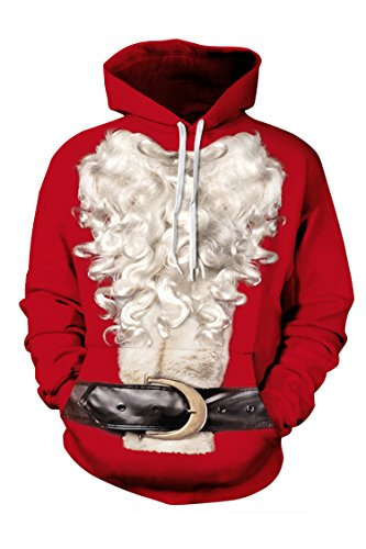 Timemory Unisex 3D Santa Claus Printed Drawstring Hoodie Sweatshirt XXXL Print #38 (Santa Hoodie)