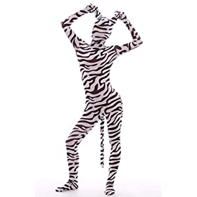 - 41XXBrhL79L - Nedal Lycra Spandex Zebra Bodysuit Halloween Skin Suit Animal Costume
