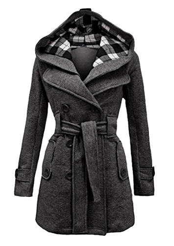 LD Womens Plaid Hooded Trench Coat Double Breasted Belted Wool Pea Coat Overcoat Dark gray M ()