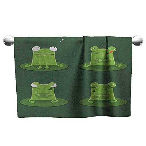 xixiBO Microfiber Swimming Pool Beach Towel W10 x L10 Funny,Funny Muzzy Frog on Lily Pad in Pond Hunting Tasty Fly Expressions Cartoon Animal, Hunter Green Microfiber Bath Towel - Lily Display Frog Pad