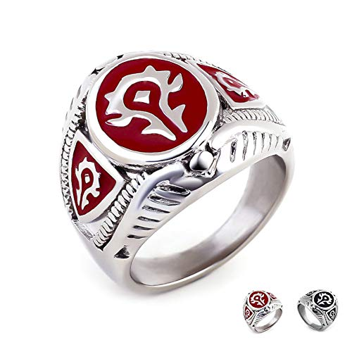 Excow Jewelry World of Warcraft Horde Badge Ring Stainless Steel Gamer Band
