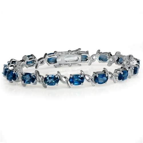 15.15ct. Genuine London Blue Topaz White Gold Plated 925 Sterling Silver Tennis Bracelet 6.5 Inch. by Silvershake