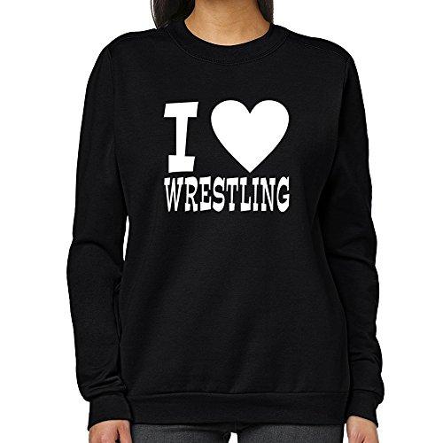 Teeburon I LOVE Wrestling Women Sweatshirt by Teeburon