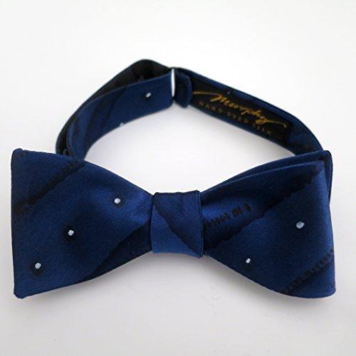 100% Silk Hand-Painted Hand-Made Men's Self Tie Bow Tie ''Zip Dots Blue'' Art to Wear by Murphyties by Murphyties Inc.