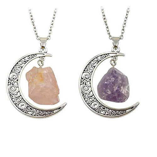 MJartoria Best Friend Necklaces Love Across Light Years Filigree Crescent Moon Nebulae Cabochon Friendship Necklace Set of 2 (2PC-Silver Moon-Natural Stone)