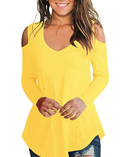 (AolakekeCold Shoulder Short/Long Sleeve Cold Shoulder Tops T Shirts V Neck Tunics Casual Loose Blouses Yellow )