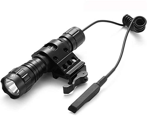 BOODMENT Tactical Flashlight 1200 Lumen LED Weapon Light with Offset Picatinny Rail Mount and Barrel Mount for A/R15 A/K Rifle Pressure Switch 18650 Rechargeable Battery